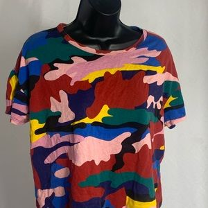 Zara Multicolor Camouflage T Shirt